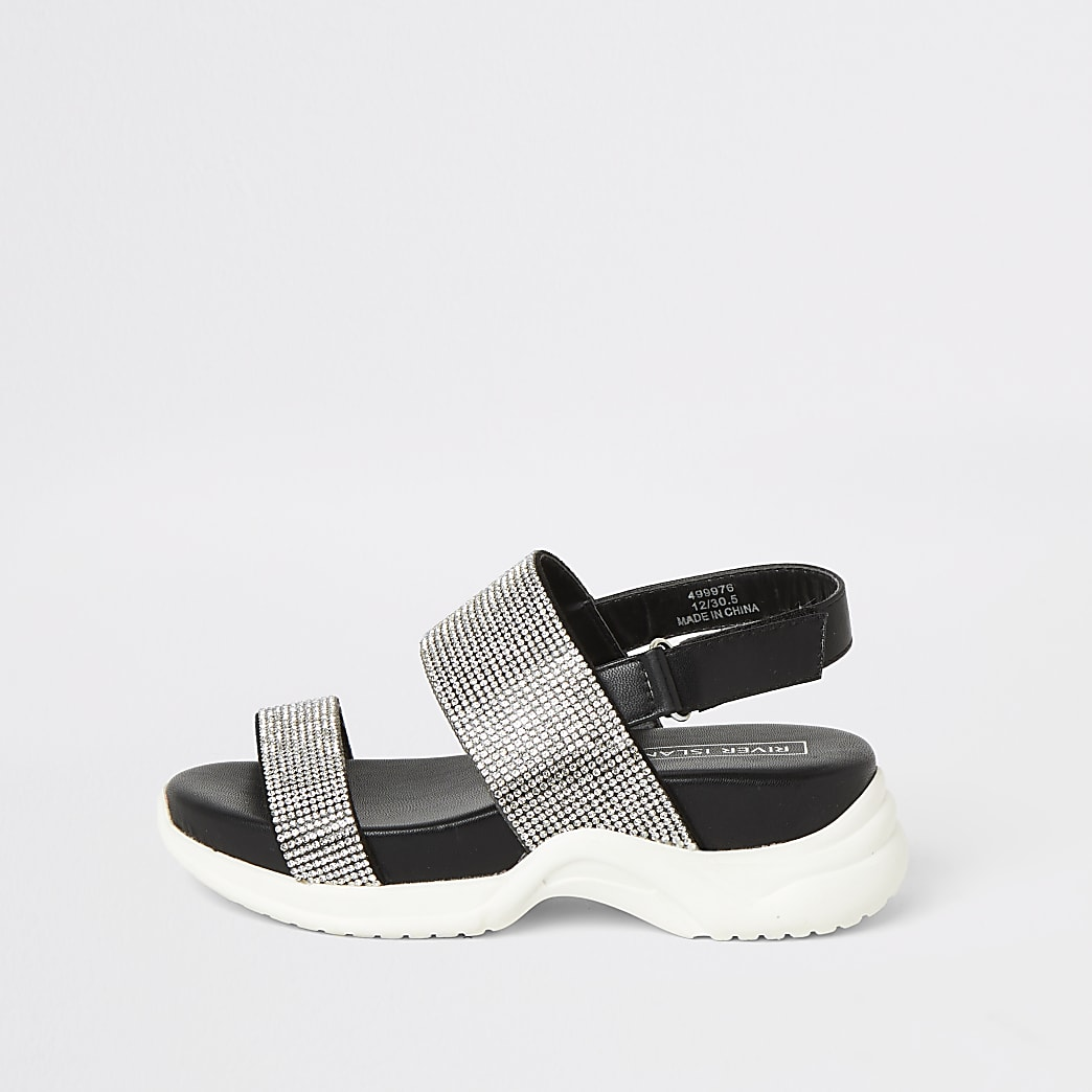 Girls black diamante chunky sole sandals
