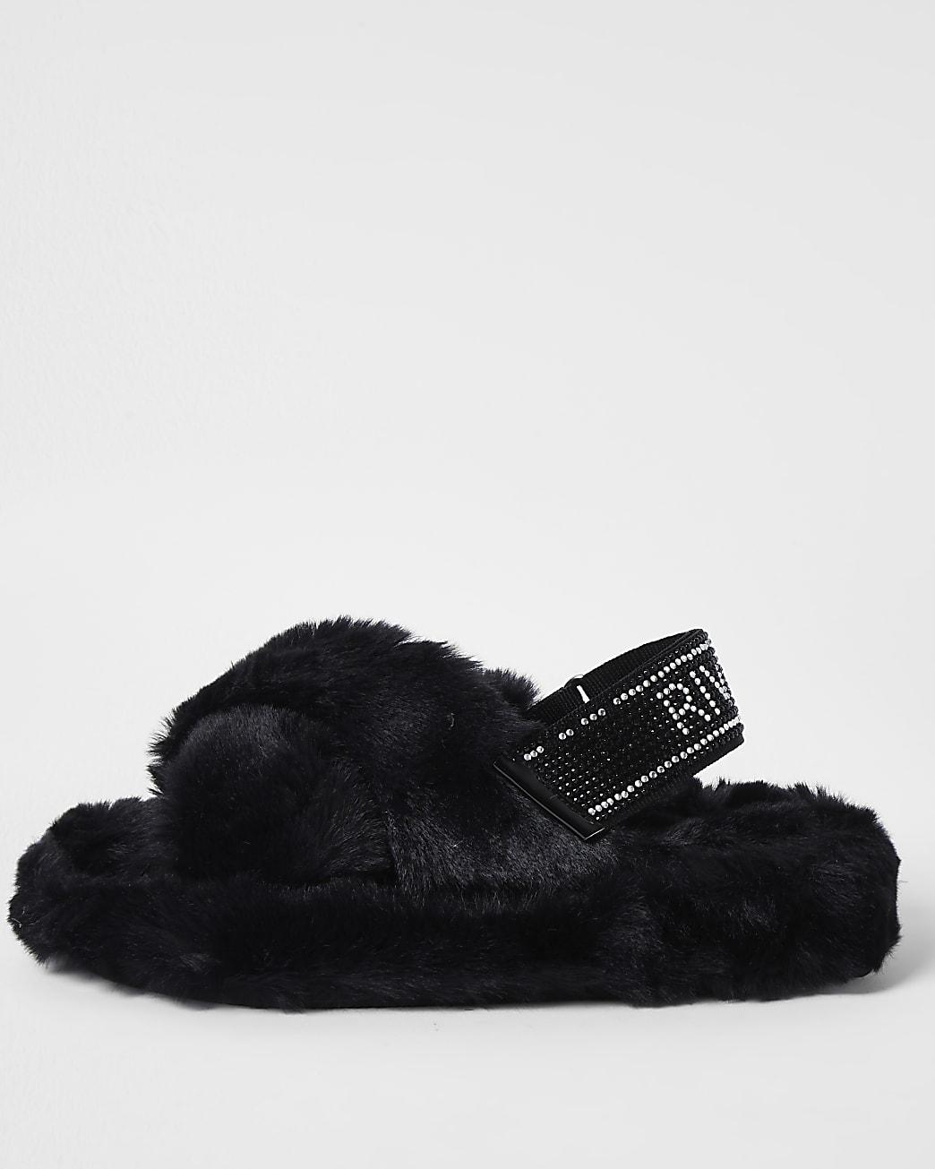 Girls black diamante faux fur slippers