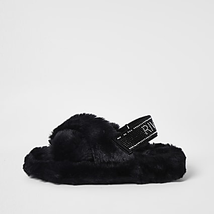Girls black diamante faux fur slippers