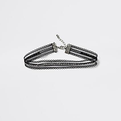 Girls black diamante lace choker necklace