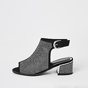 Zwarte laarzen met open voorkant, hak en siersteentjes voor meisjes