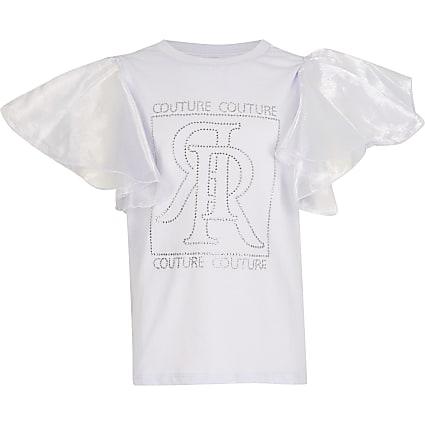 Girls black diamante organza sleeve t-shirt