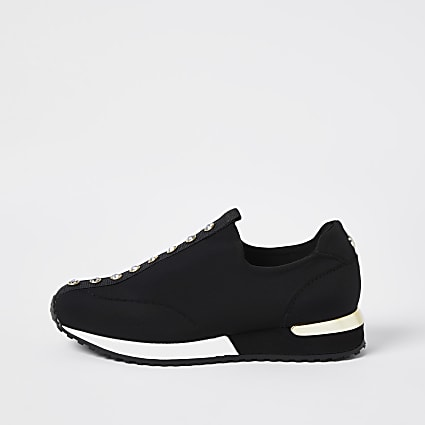 Girls black diamante pull on trainers
