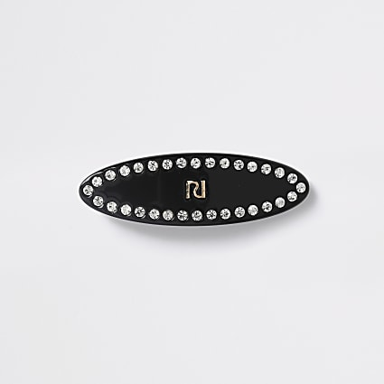 Girls black diamante RI hair clip
