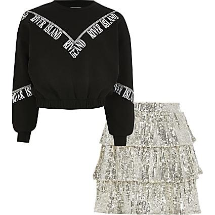 Girls black diamante sweat outfit