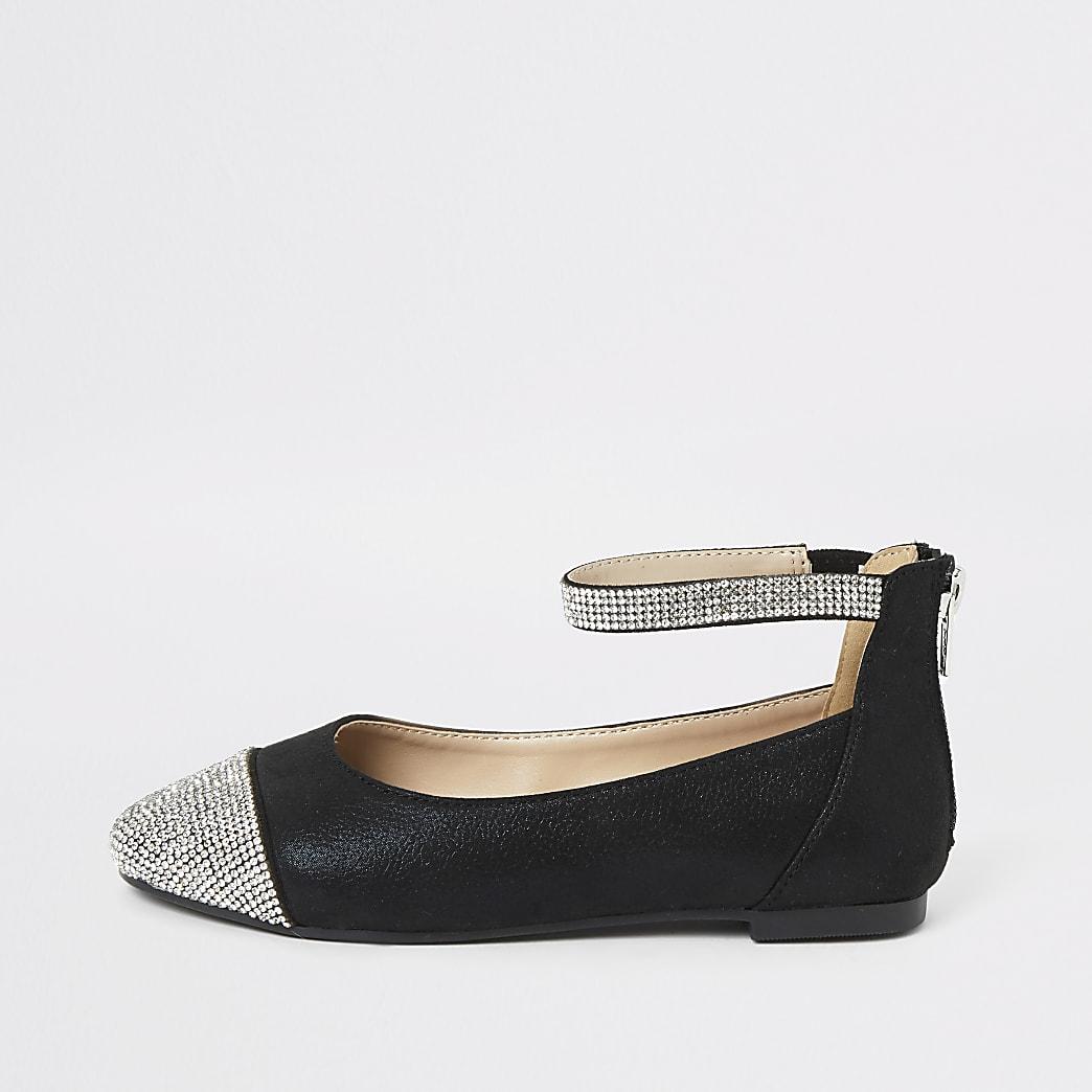 Girls black diamante toe ballerina pumps