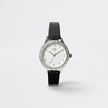 Girls black diamante watch