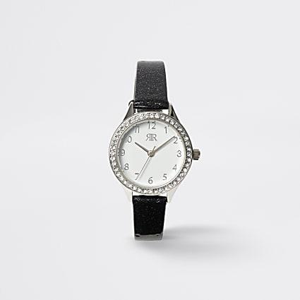 Girls black diamante watch