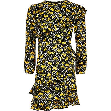 Girls black ditsy print frill swing dress