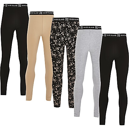 Girls black ditsy print leggings 5 pack