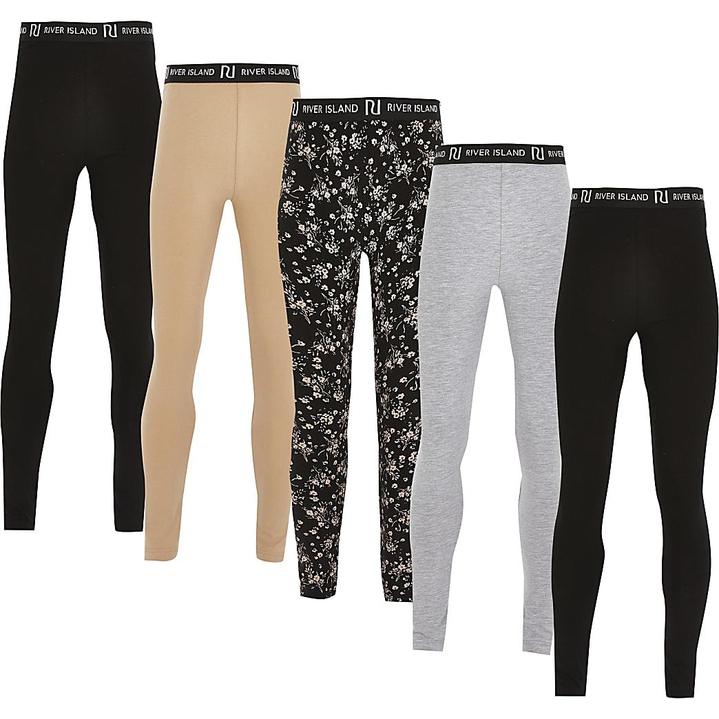 Girls black ditsy print leggings 5 pack