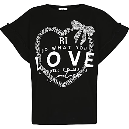 Girls black 'Do what you love' t-shirt