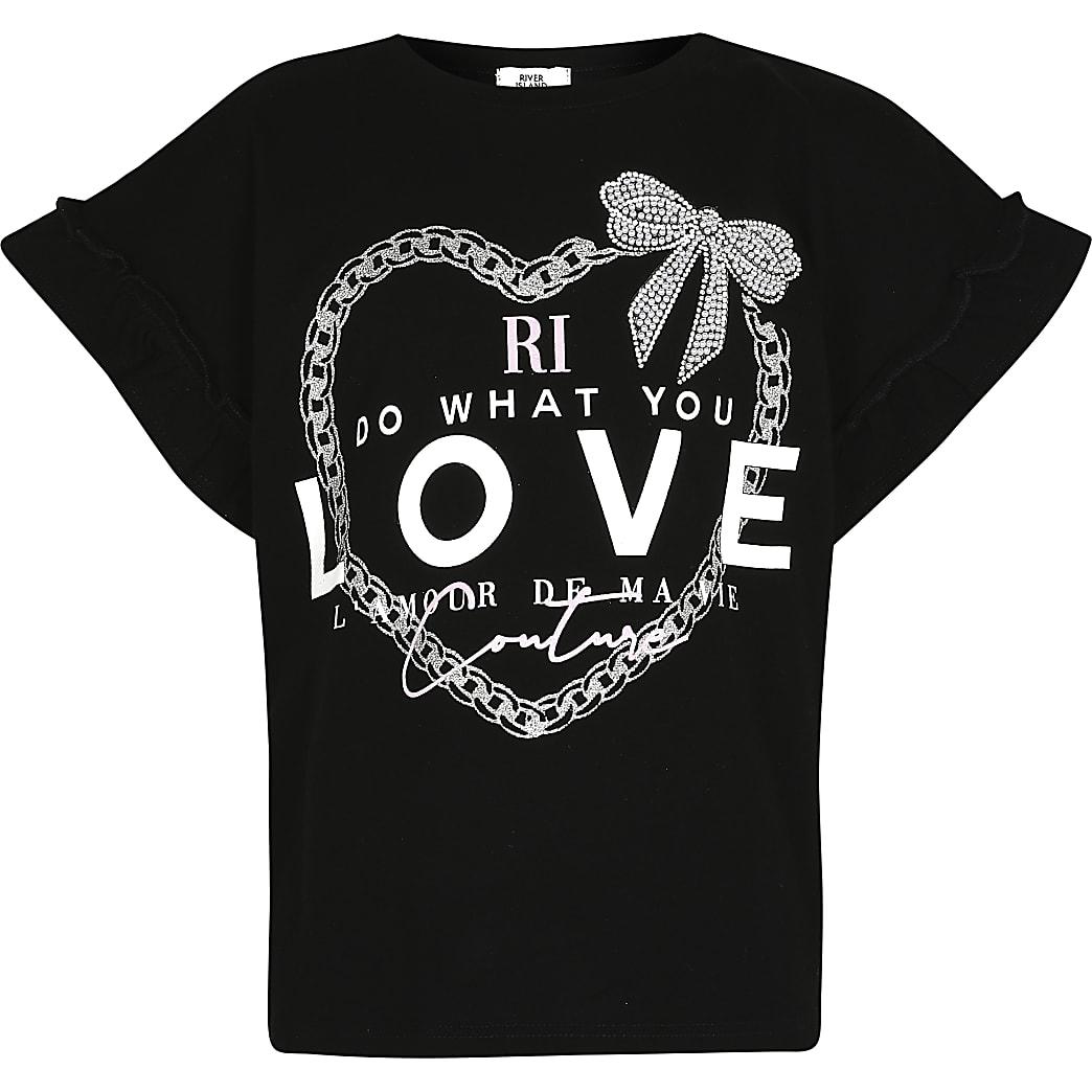 Girls black 'Do what you love' t-shirt