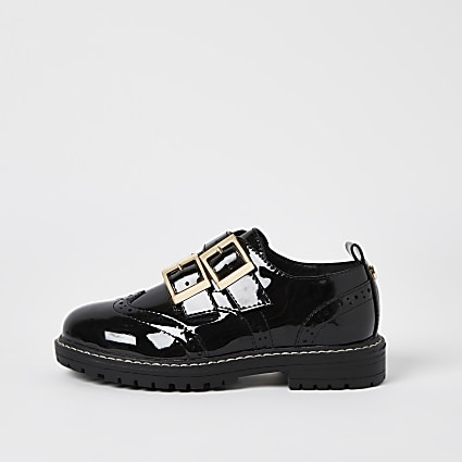 Girls black double buckle patent shoes