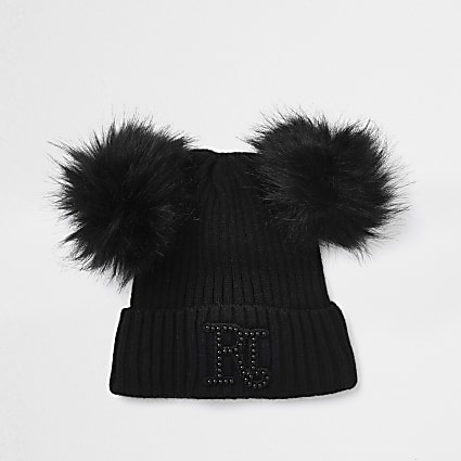 Girls black double pom beanie hat