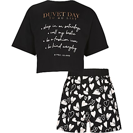 Girls black 'Duvet day' pyjama set