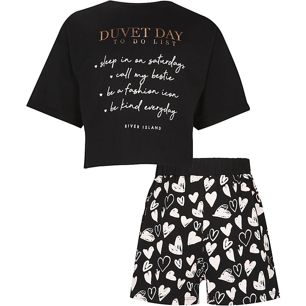 Girls black 'Duvet day' pyjama set