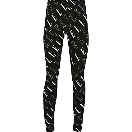 Girls black ELLE print leggings