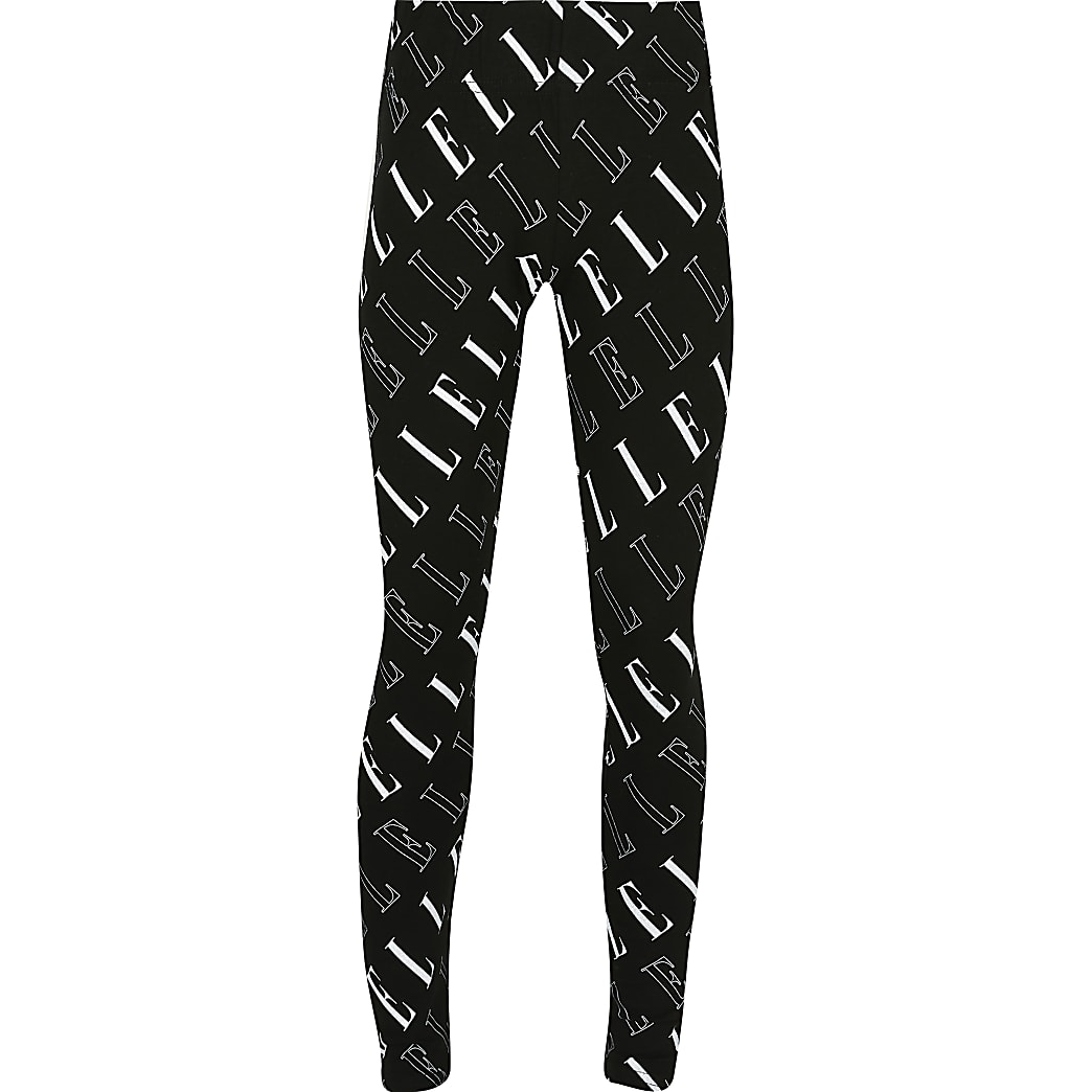 Girls black ELLE print leggings