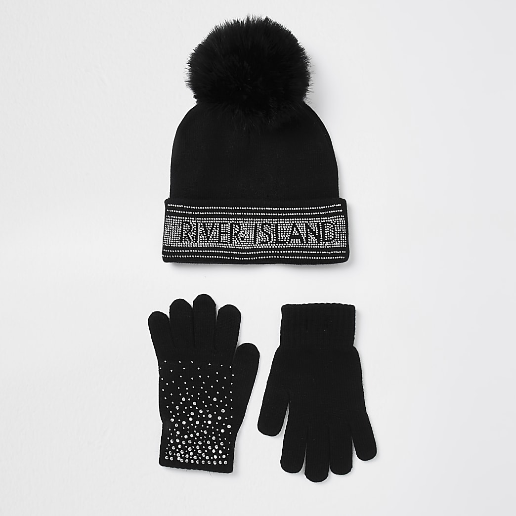 Girls black embellished beanie hat set