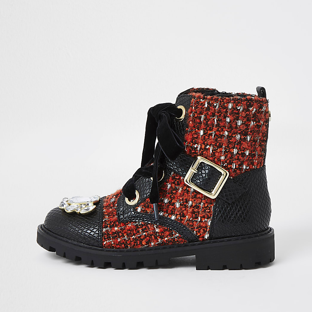 Girls black embellished boucle clumpy boots