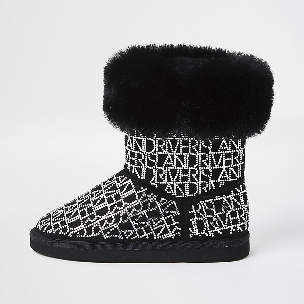 Girls black embellished faux fur lined boots