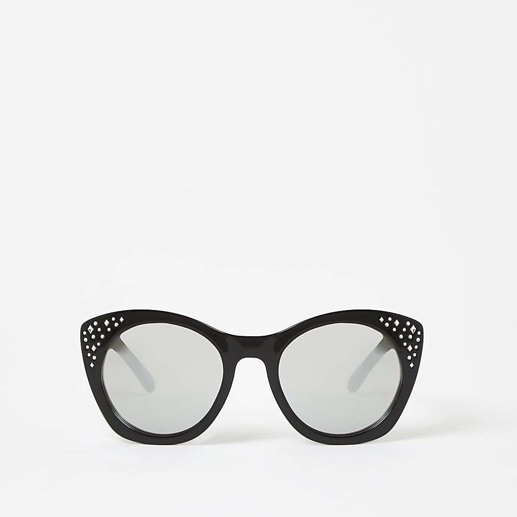 Girls black embellished glam sunglasses