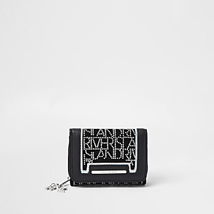 Girls black embellished purse