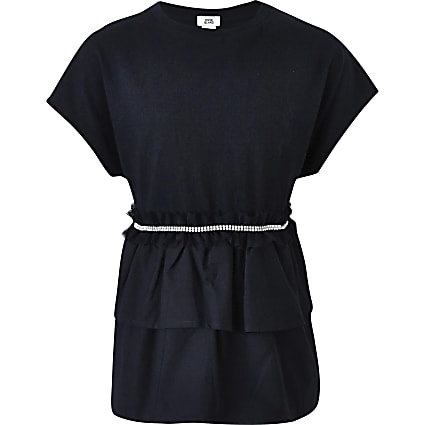 Girls black embellished ruffle T-shirt