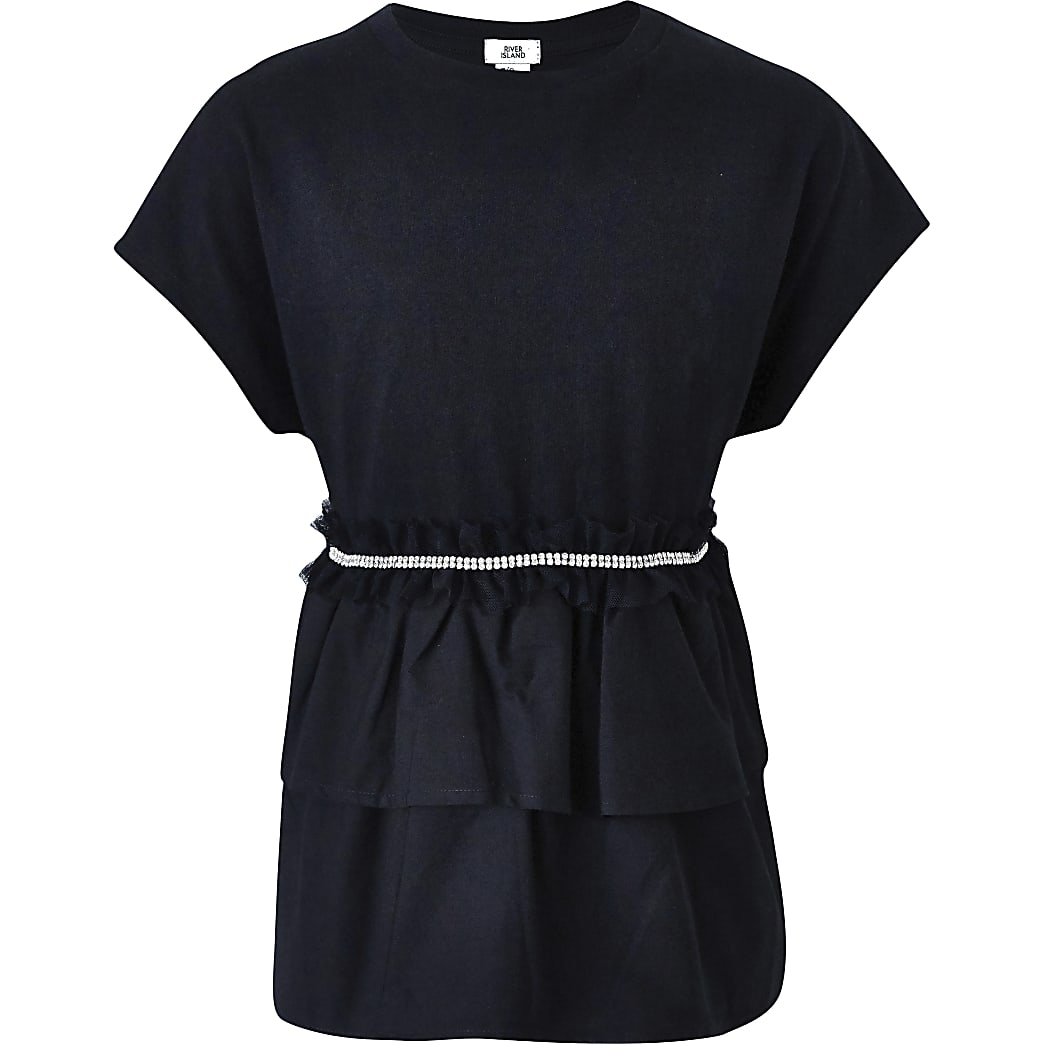 Girls black embellished ruffle T-shirt