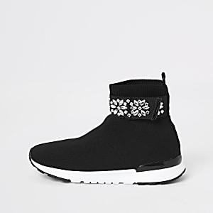 Baskets-chaussettes noires avec bande ornéepour fille