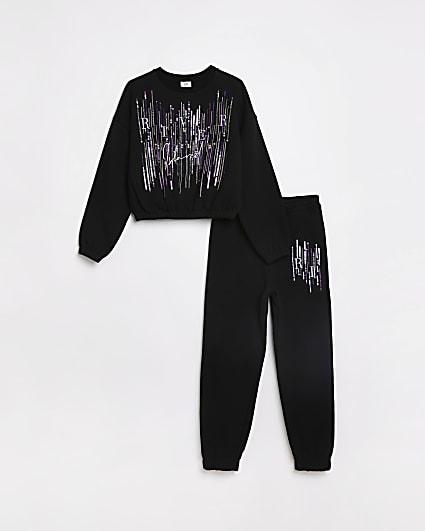 Girls black embellished sweatshirt outfit