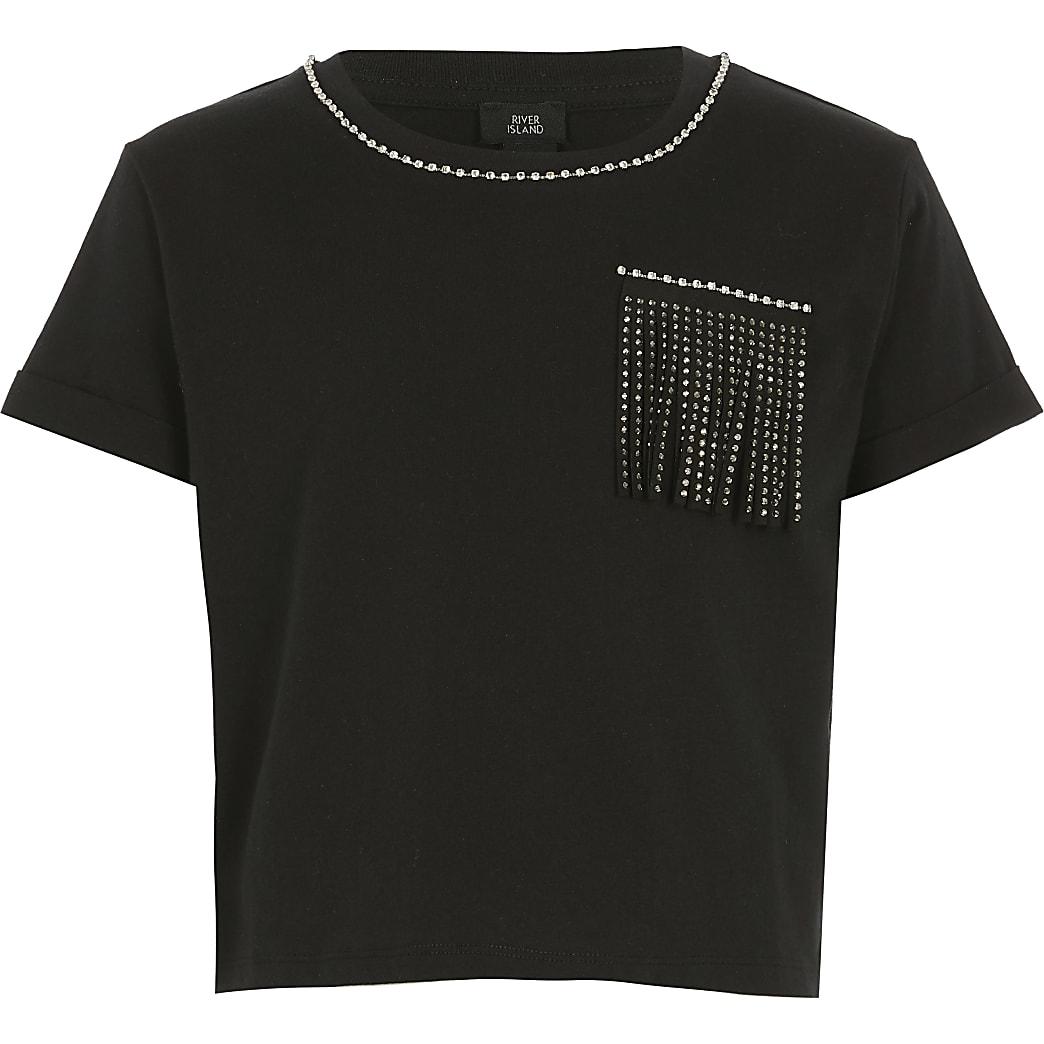 Girls black embellished tassel crop T-shirt