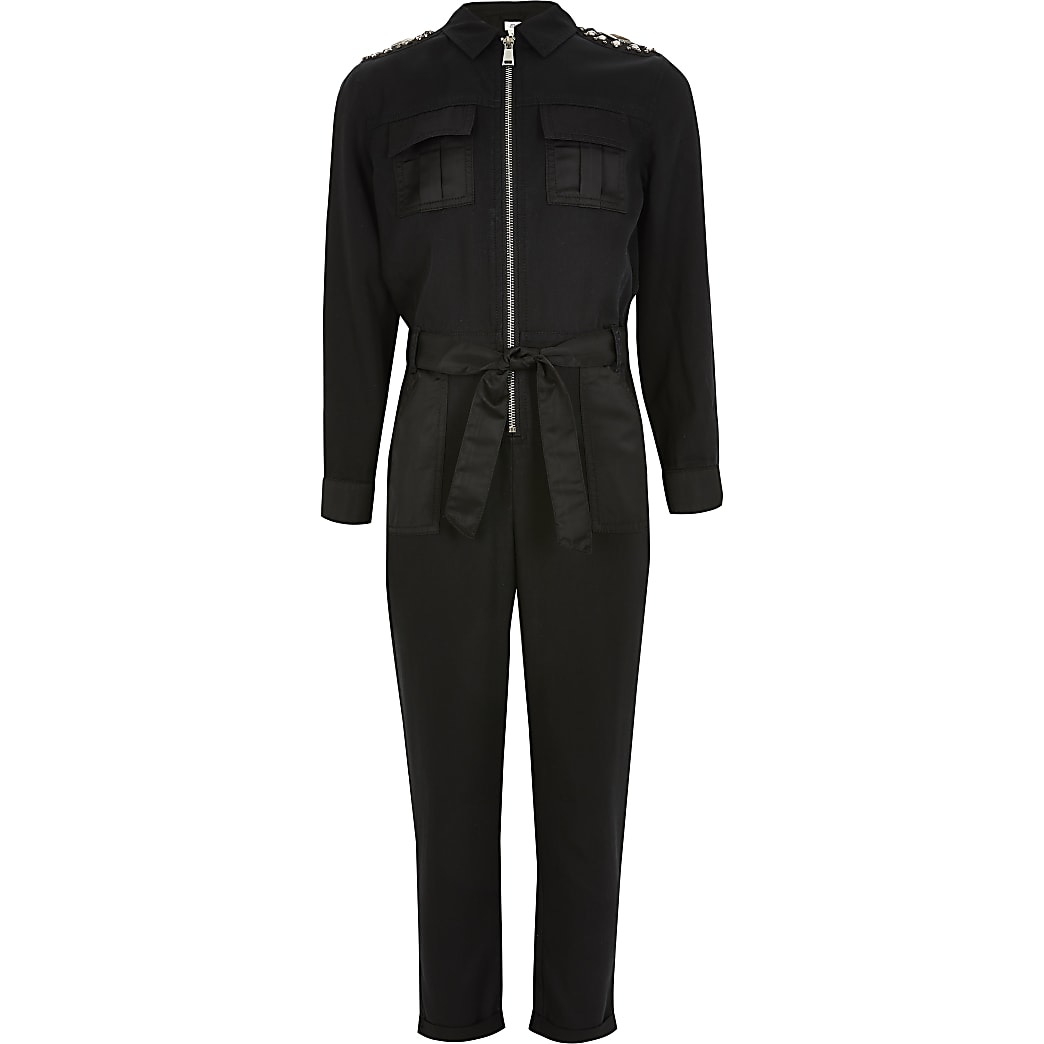 Girls black embellished uility jumpsuit