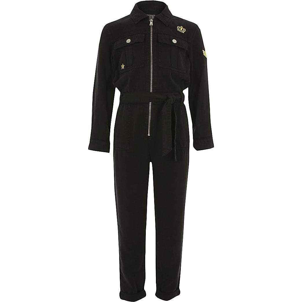 Girls black embellished utility jumpsuit