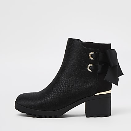 Girls black embossed bow back ankle boots