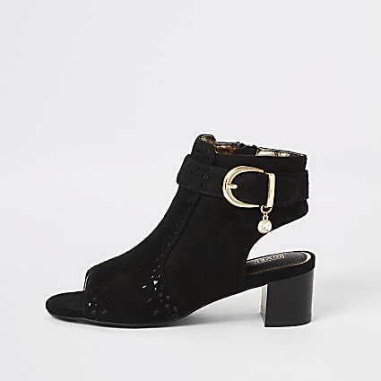 Girls black embossed open toe heeled boot