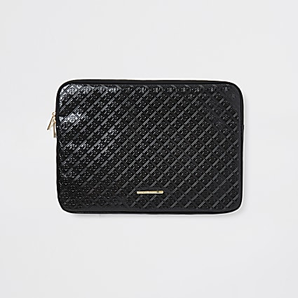 Girls black embossed patent laptop case