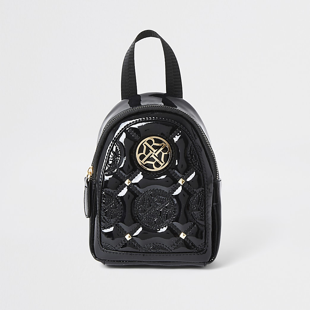 Girls black embossed quilted mini backpack