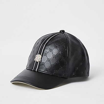 Girls black embossed RI monogram cap