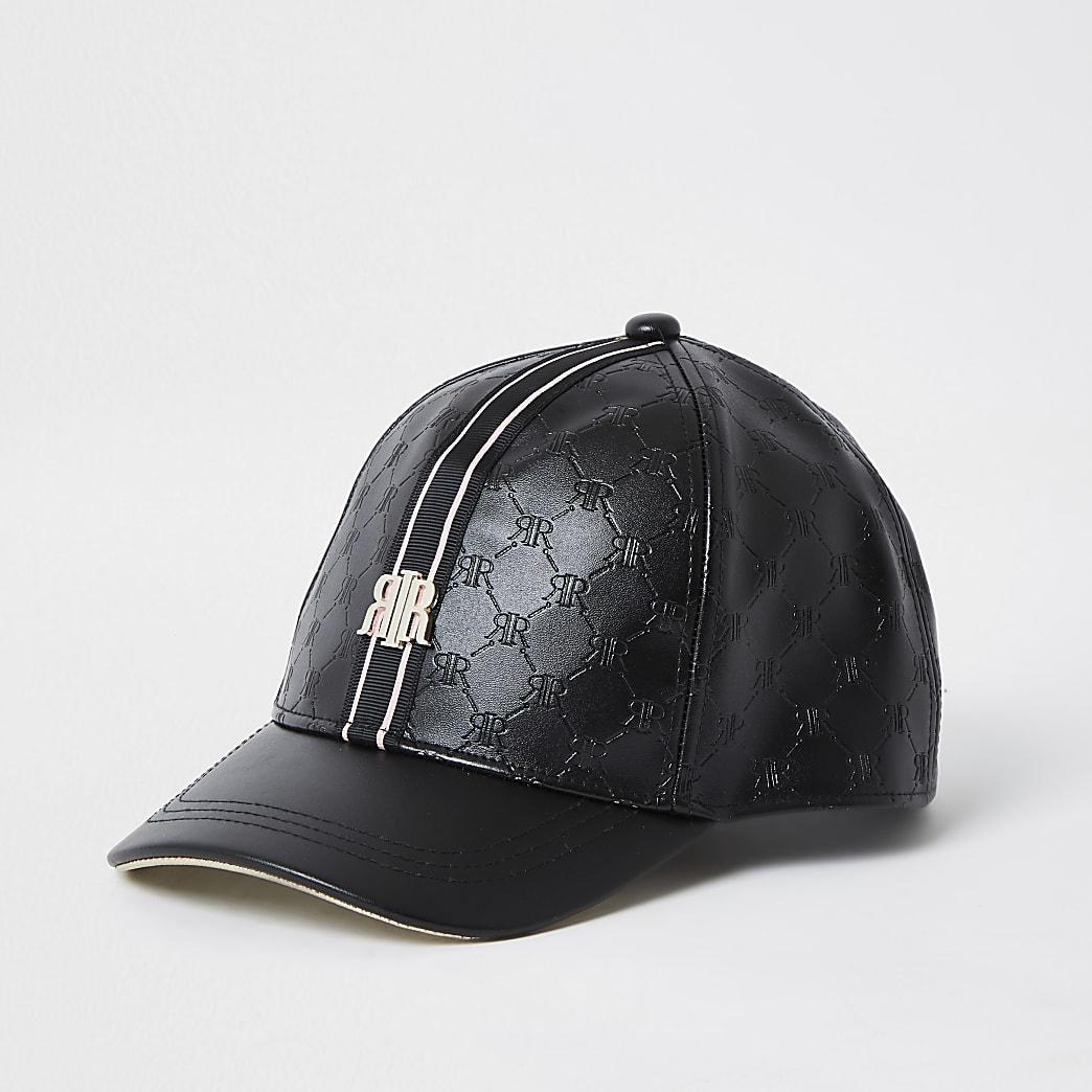 Girls black embossed RI monogram cap