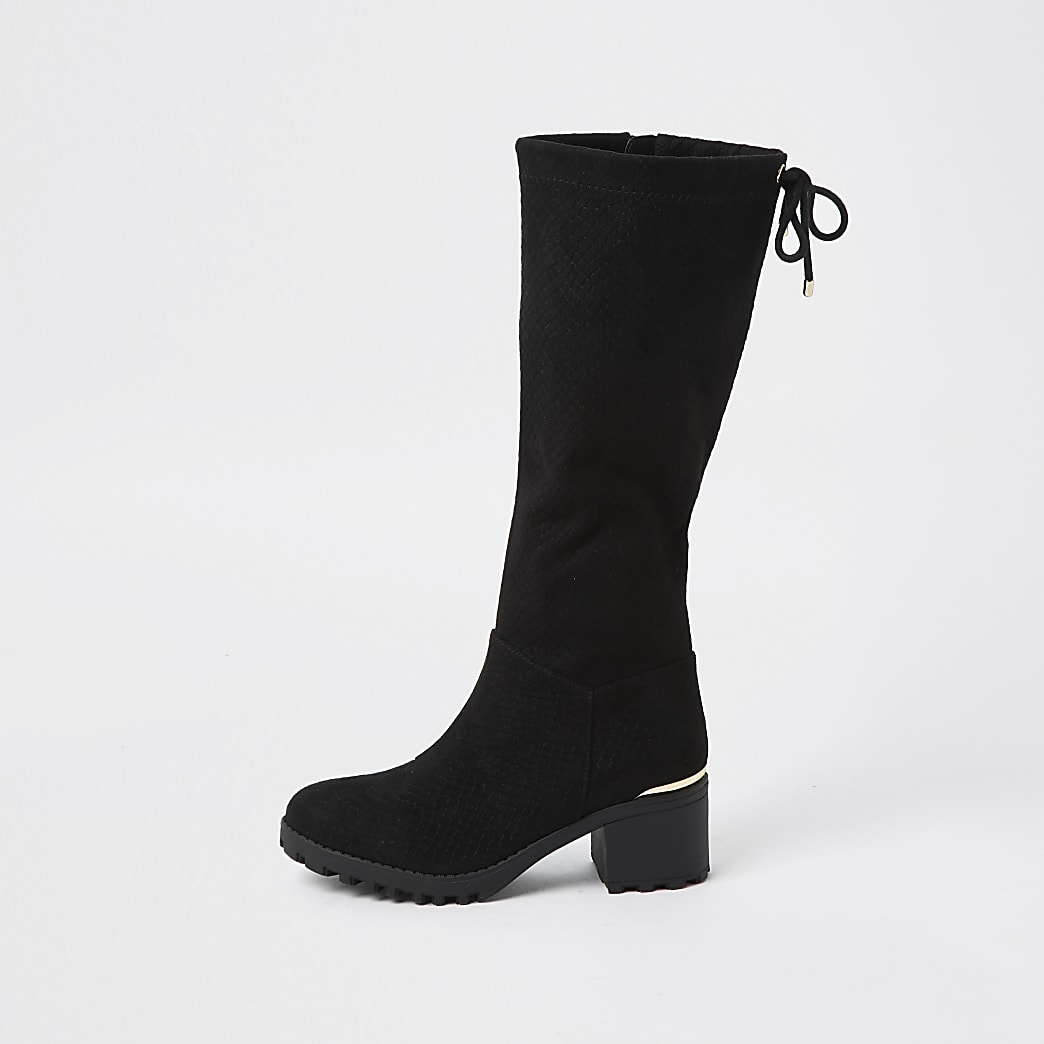 Girls black embossed snake knee high boot