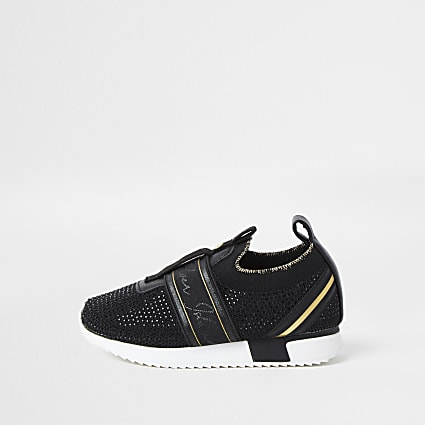 Girls black embossed strap slip on trainers