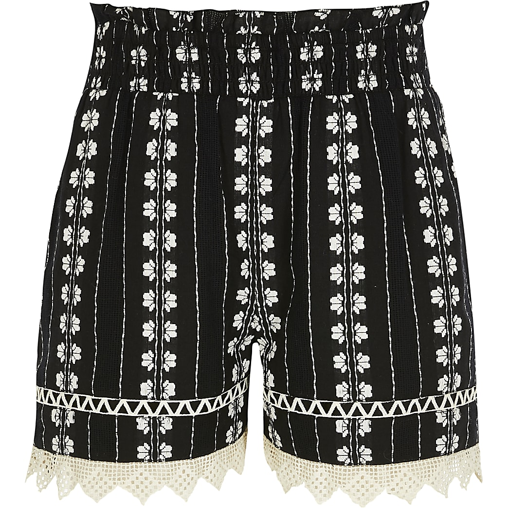 Girls black embroidered shorts