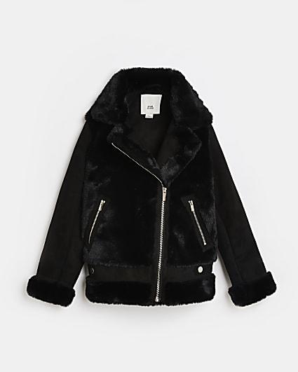 Girls black faux fur aviator coat