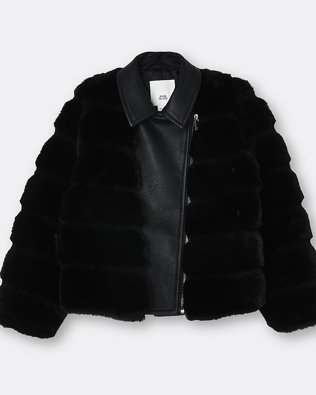 Girls black faux fur biker jacket