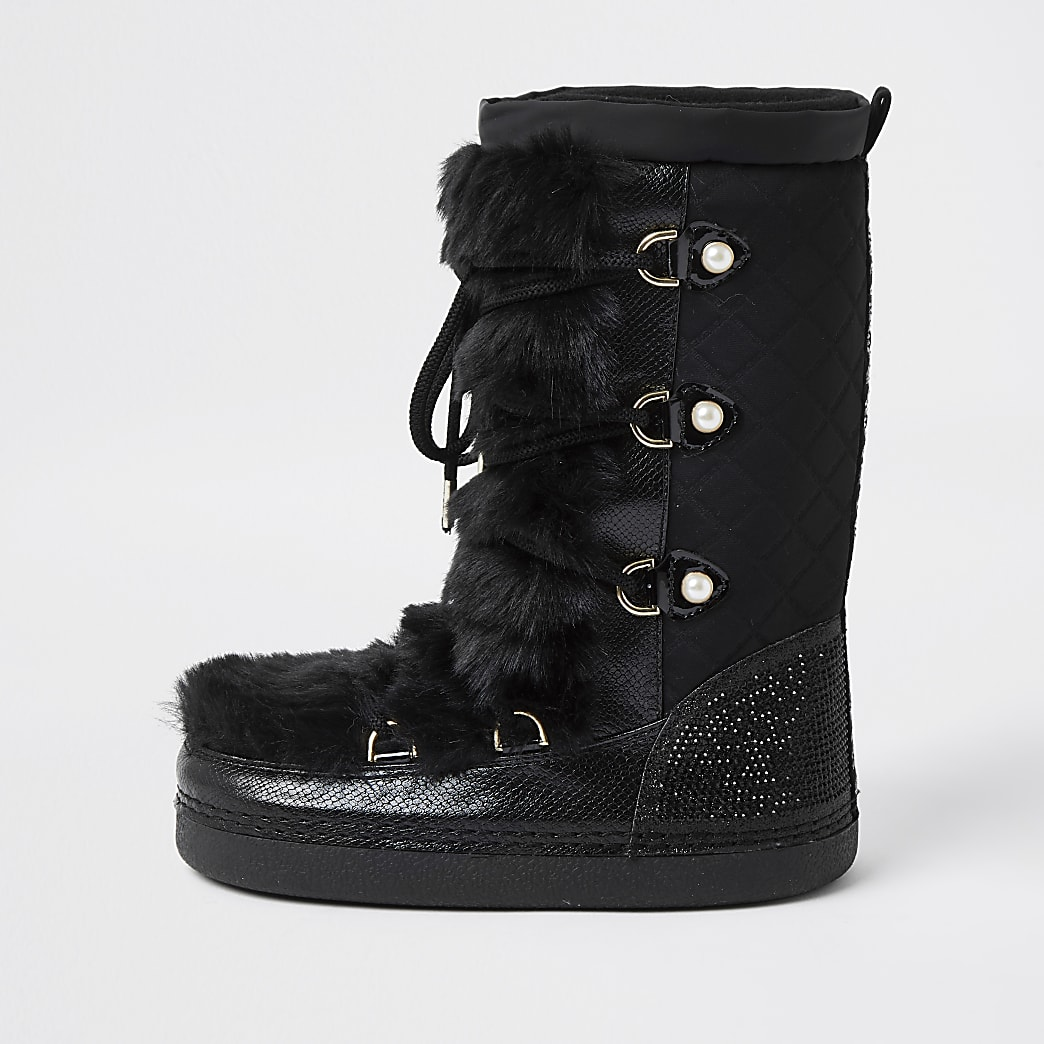 Girls black faux fur diamante snow boot