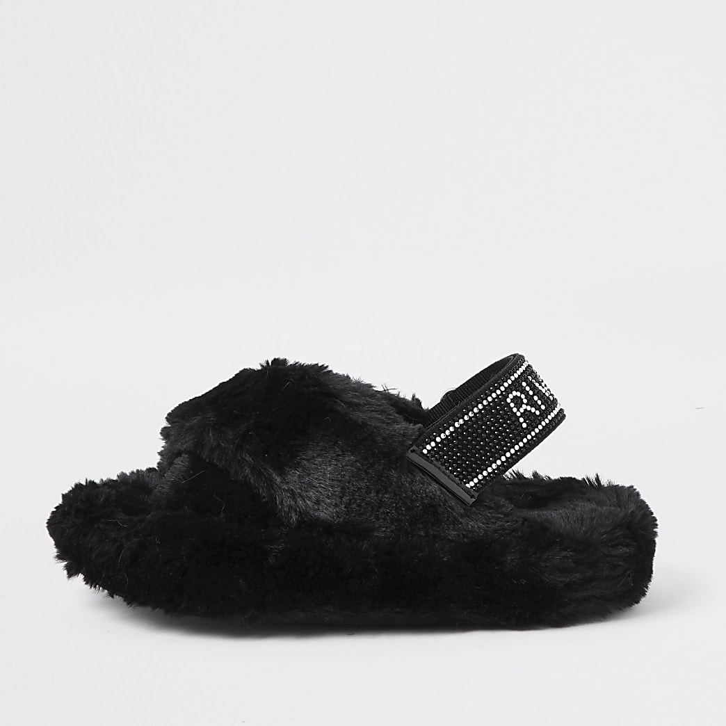 Girls black faux fur diamante trim slippers