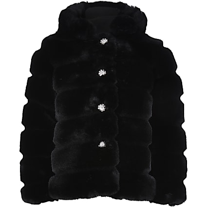 Girls black faux fur hood coat