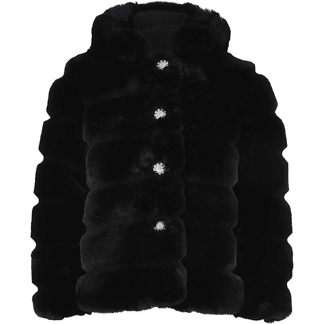 Girls black faux fur hood coat